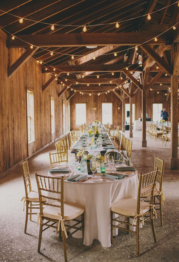 Gold Chairs, Draped Lights, Barn Reception // Hyer Images
