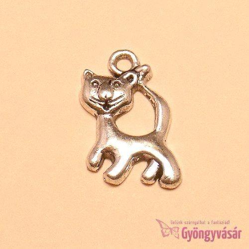 Ezüstszínű Kázmér cica - fém fityegő