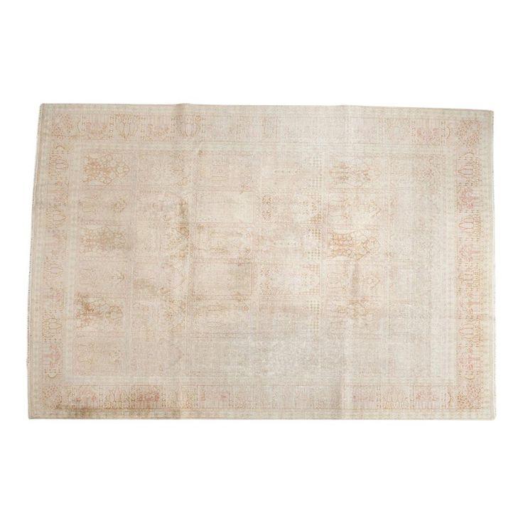 Vintage Distressed Kashmir Silk Carpet – 7′ x 10'1″