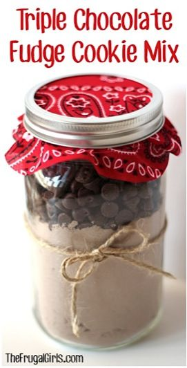 "Triple Chocolate Fudge Cookie Mix in a Jar...PLUS dozens of more ""Gifts in a Jar"" Ideas...."