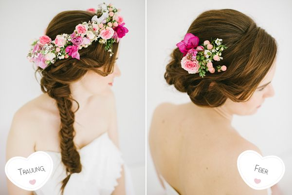 Brautfrisur geflochten mit Blumen13