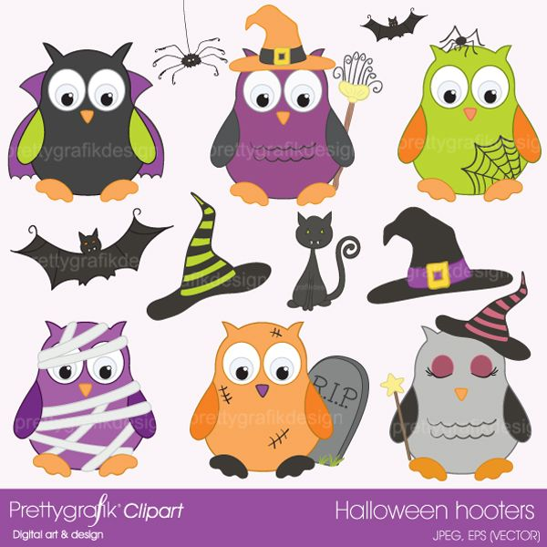 images:of halloween owls | Halloween owls clipart - CL369 Halloween owls clipart commercial use ...