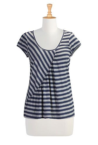 Great asymmetric pieced top with gathers along the asymmetric seam diagonally across the front
