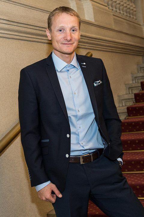 Ondřej Moravec během vyhlášení ankety Biatlonista roku.