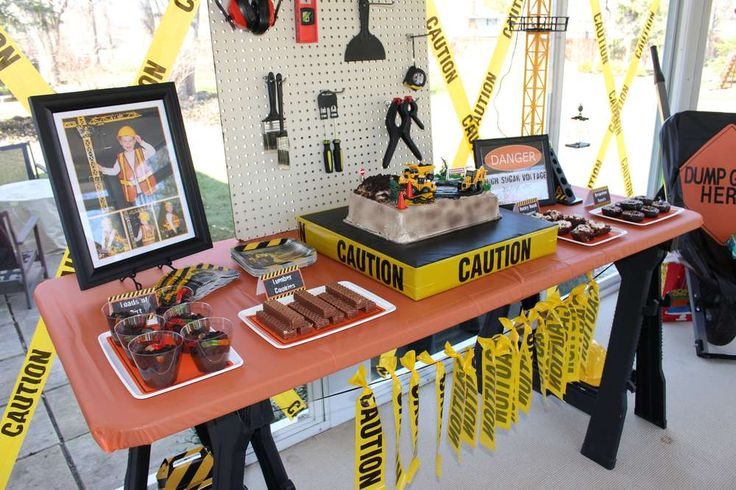 Themed dessert table at a construction birthday party! See more party planning ideas at CatchMyParty.com!