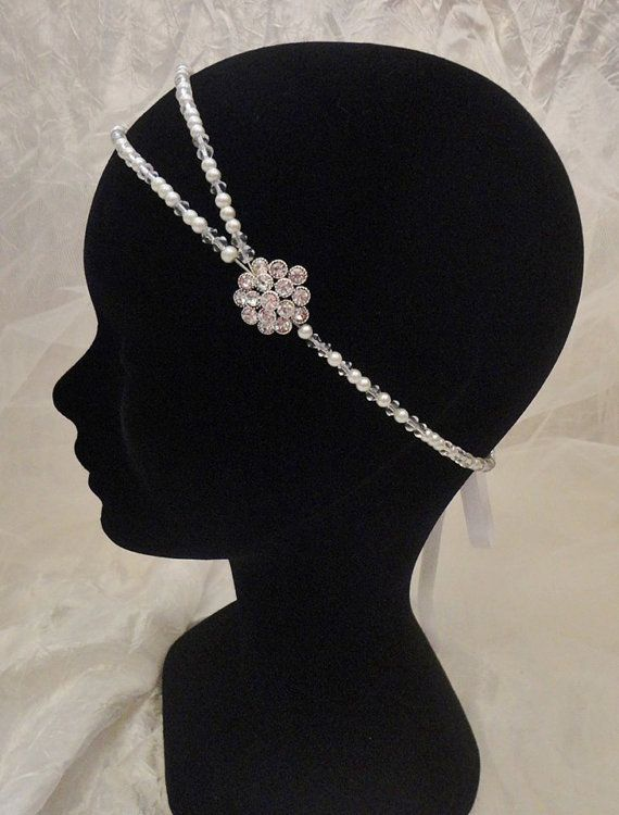 Vintage retro headband bridal wedding swarovski Great by Zalanya, $49.00