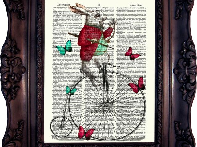 Alice in Wonderland White Rabbit on Penny Farthing.Dictionary art print. Print on book page. White Rabbit print. Rabbit Hole.