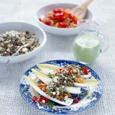 Salata de linte si orez cu dressing de avocado