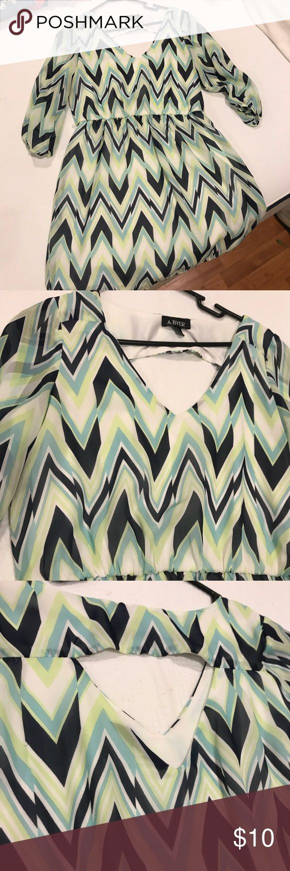 Teal & Blue Chevron Dress!!! Teal & Blue chevron dress with back cut out. Above the knee with 3/4in sleeves. In great condition!! A. Byer Dresses Midi