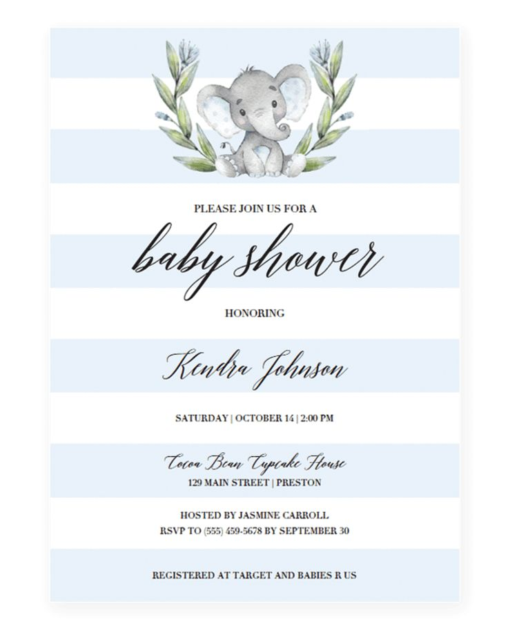 Blue Elephant baby shower invitation template download by LittleSizzle