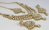 Indian Traditional wedding bridal kundan necklace set earring gold plated new