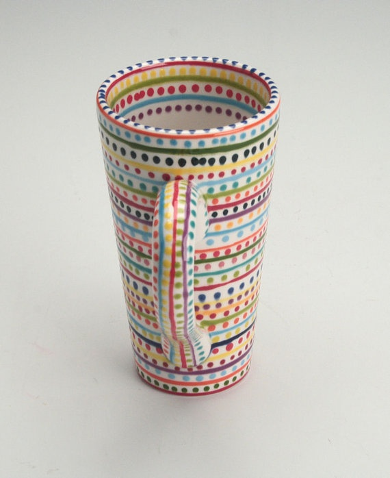 Adorable Tall Mug Love This Hand Painted Great Colors And It