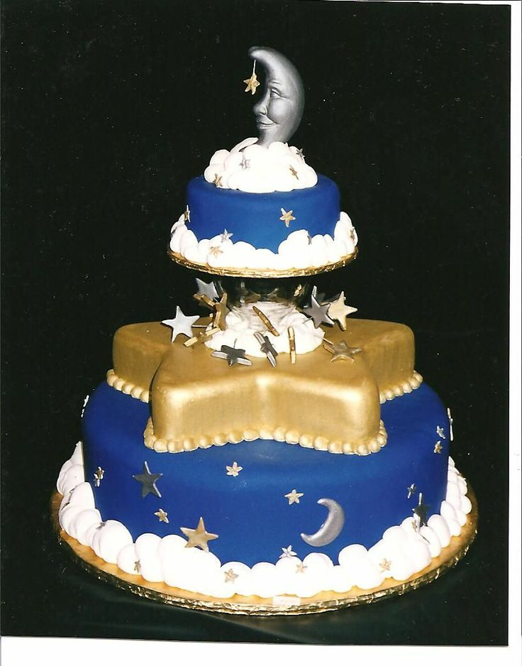 Moon & Stars Wedding Cake - This was inspired by a figurine I saw.  The cake was originally designed for a cake competition, but I did re-create it for a wedding.  The fun part was getting the fondant that dark blue!  The moon was formed in a soap mold I found at a craft store.  The best compliment I received from doing this cake was from other decorators using it as inspiration.  The next year at the same competition I was a judge ... and someone used my design for an entry!  LOL Thanks for…