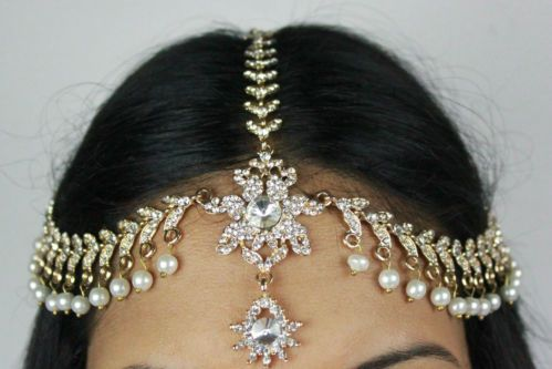DIAMANTE STONES & PEARL HAIR HEAD CHAIN HEADPIECE HEAD JEWELLERY MATHA PATTI | eBay