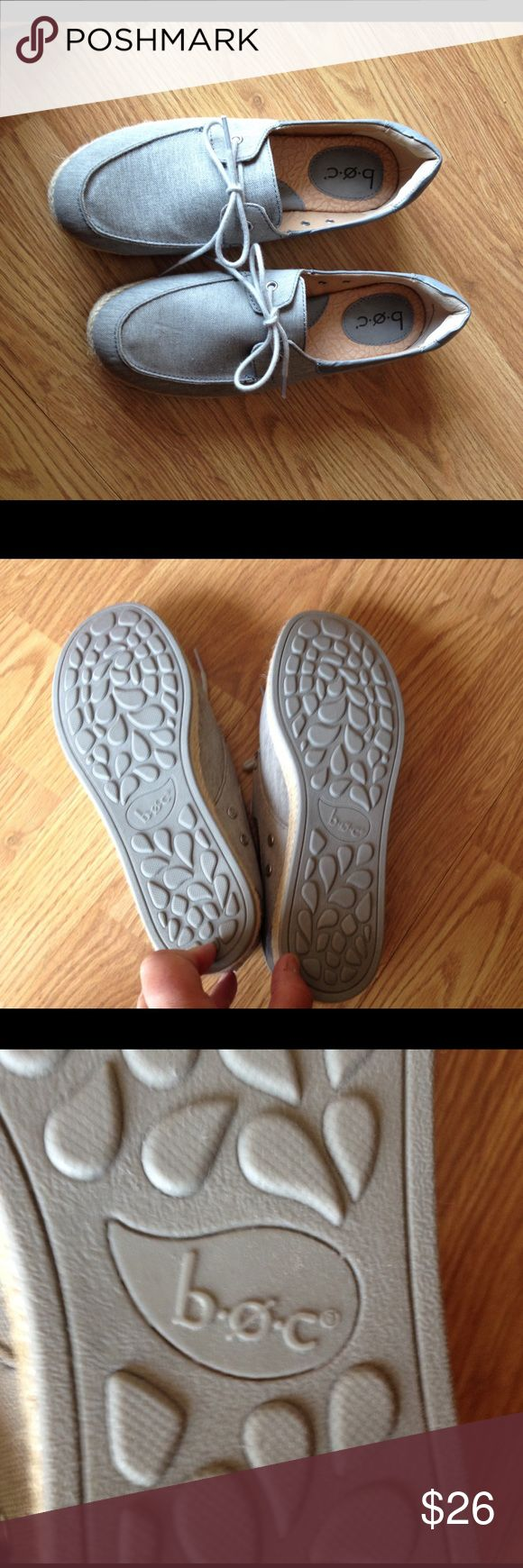 NWOT B O C ladies canvas deck boat shoes sz 9 New without tags ladies shoes canvas boat or deck style - similar to Sperry's. Beautiful light gray color B O C Shoes Flats & Loafers