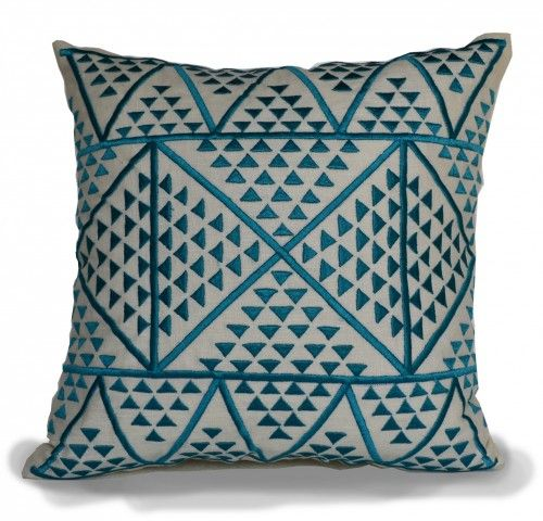 Aztec decorative throw pillow cover with robin blue embroidered geometric pattern on ivory linen. This versatile geometric cushion works well as a gift for him, gift for her, housewarming gift, weddin