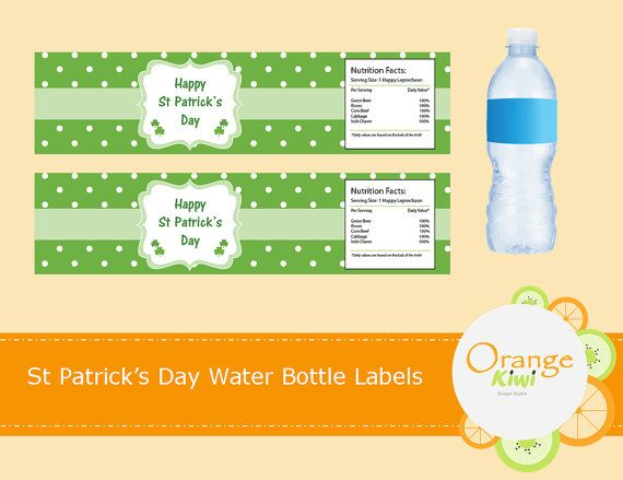Happy St Patrick's Day Water Bottle Wraps St by OrangeKiwiDesign