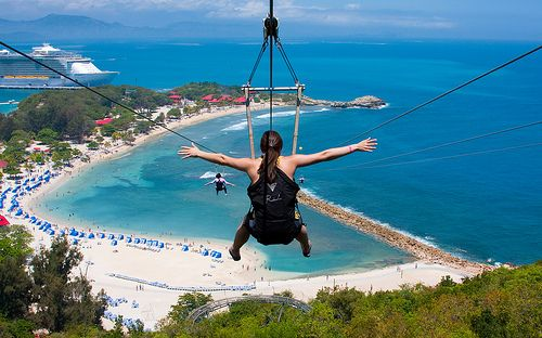This photo is zip-lining over the beach in labadee, Haiti!! We where there for our 1 year anniversary cruise on the Royal Caribbean Oasis of the Seas!