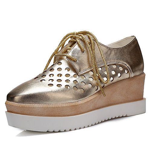 Mujer Zapatos Semicuero Primavera Verano Otoño Tacón Cuña Con Cordón para Casual Oficina y carrera Vestido Blanco Negro Plata Rosa Dorado 2018 - $575.24