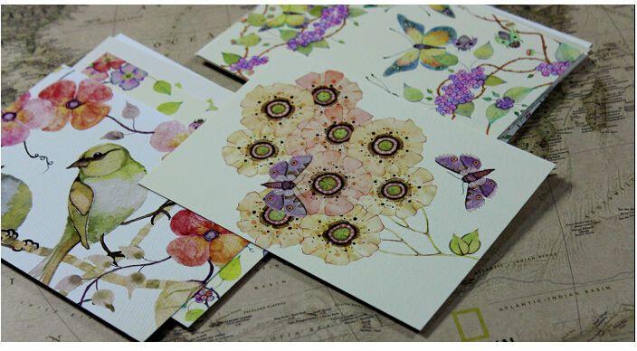 Tarjetas de flores y aves pintadas a mano con acuarela. Cute Hand Painting Birds and Flowers Fresh Watercolor postcards Wedding Invited Cards Celebrating Congratulation card. No. 7