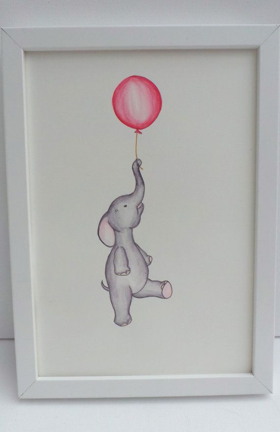 baby decor - elephant and floating  balloon - nursery art - animal art print - A4 or 8x10inch drawing
