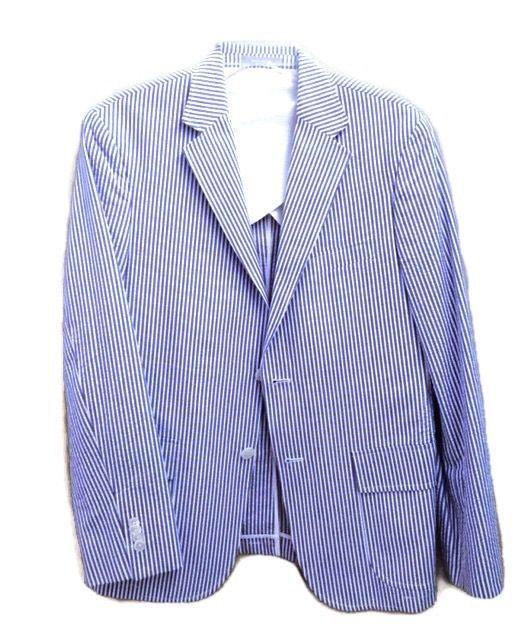 JC PENNEY JCP Blue & White Mens Seersucker Blazer Sports Coat Size 40 R #JCP #SportsCoat