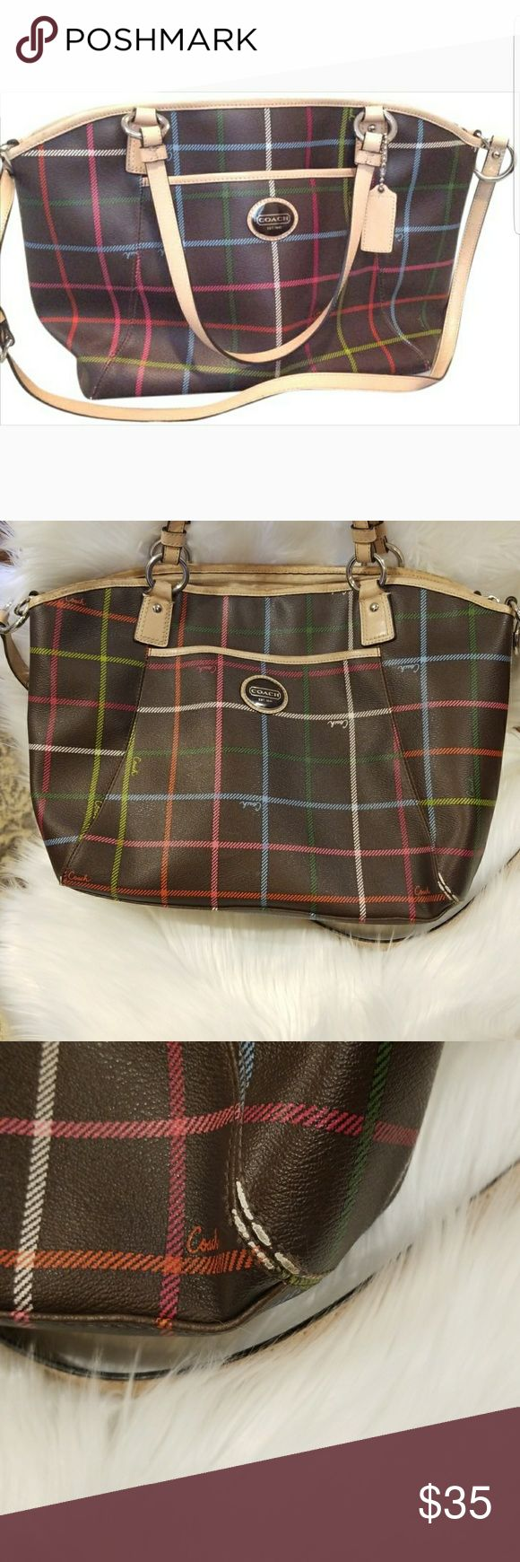 Coach Java Brown Canvas & Leather Tote This bag is in good used condition. I ran out of pictures otherwise I would have posted a picture of every corner at the bottom of the bag which definitely shows some wear.   Interior has quite a bit of marks.   Price is reflective of its condition. I believe this bag house a lot of life left in it! Coach Bags Totes