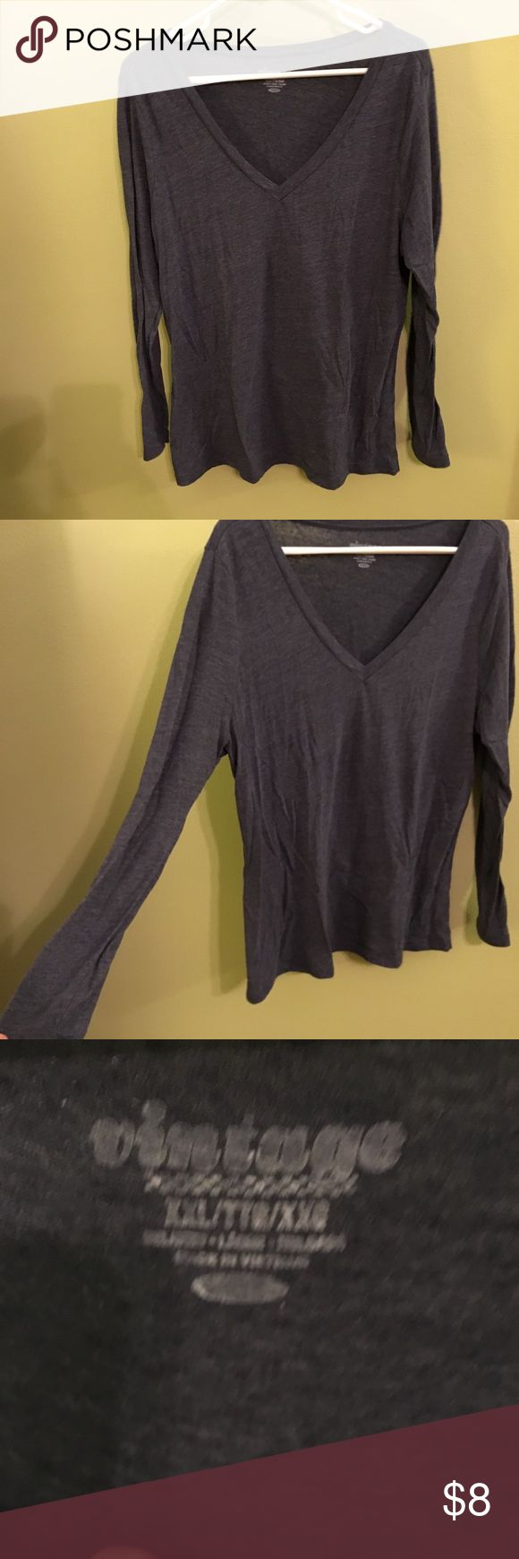 Old Navy Dark Blue Heather EveryWear V-Neck Tee Old Navy Dark Blue Heather EveryWear V-Neck Tee. Relaxed fit through body. Tee hits below waist. Soft, medium-weight slub-knit jersey.  Great condition. Size XXL.  100% cotton Old Navy Tops Tees - Long Sleeve