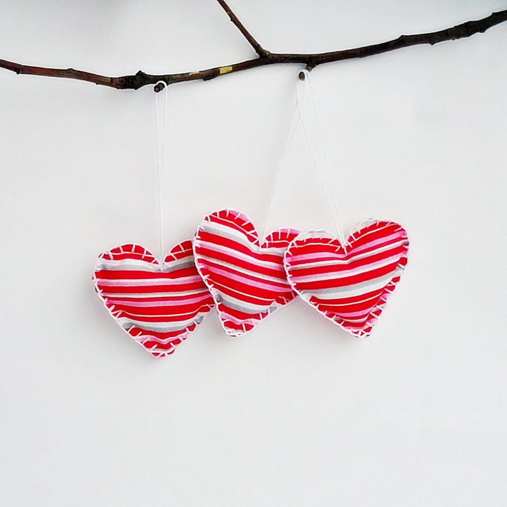 Valentine's Day hanging fabric ornaments by Gudzy