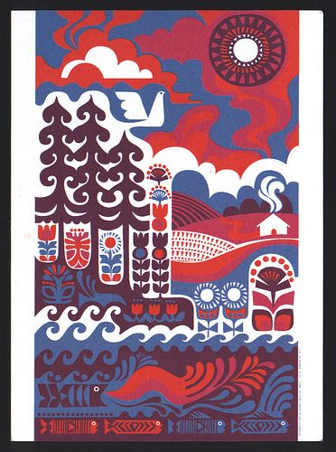 Ihmemaa print by Sanna Annukka for Marimekko. Illustrates the Kalevala (Finnish national epic).