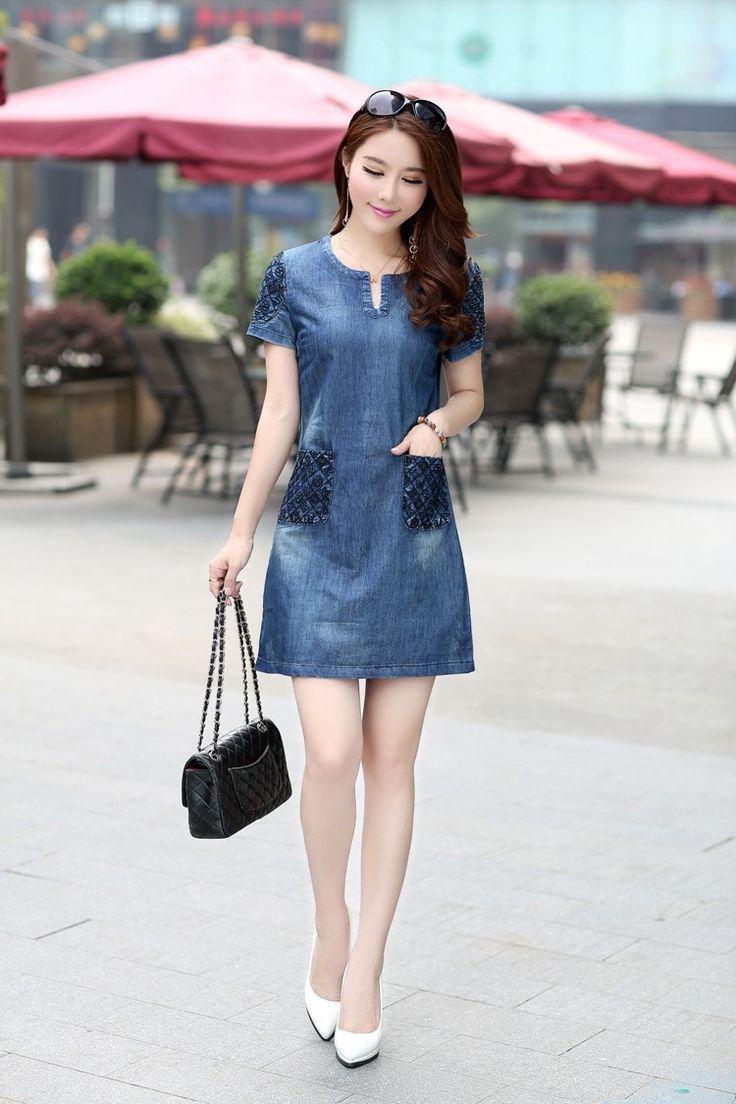 Aliexpress.com: Comprar Muy recomendable! 2016 nueva denim summer dress caliente venta mujeres sueltan moda jean vestido de la señora corto manga del tamaño más D56 de vestidos chales fiable proveedores en Starshine co., LTD