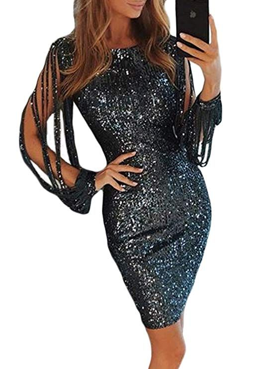 9ab15f4380bd5 FIYOTE Womens Nightclub Sexy Sparkle Sequin Bodycon Dress Off ...