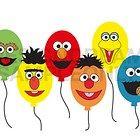 Sesame Street Elmo Cookie Monster Grouch Balloon Face Embellishments