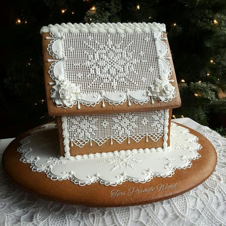 Snowflake cottage by Teri Pringle Wood - needlepoint lace, white roses, white lace
