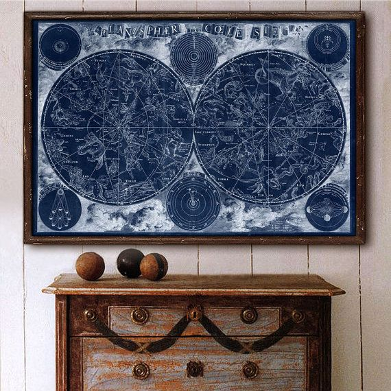 "Sky map (1850) Vintage chart of star constellations in 4 sizes up to 54x36"" (140x90cm) Large Victorian map of stars, Zodiac, Universe"
