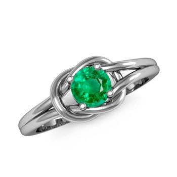 Angara Natural Emerald Infinity Knot Ring in Platinum MIWcRKrZ0