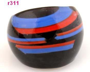 Fashion Handmade Big Classic Blue Coffee White Whirlpoole Murano Glass Rings Women Men