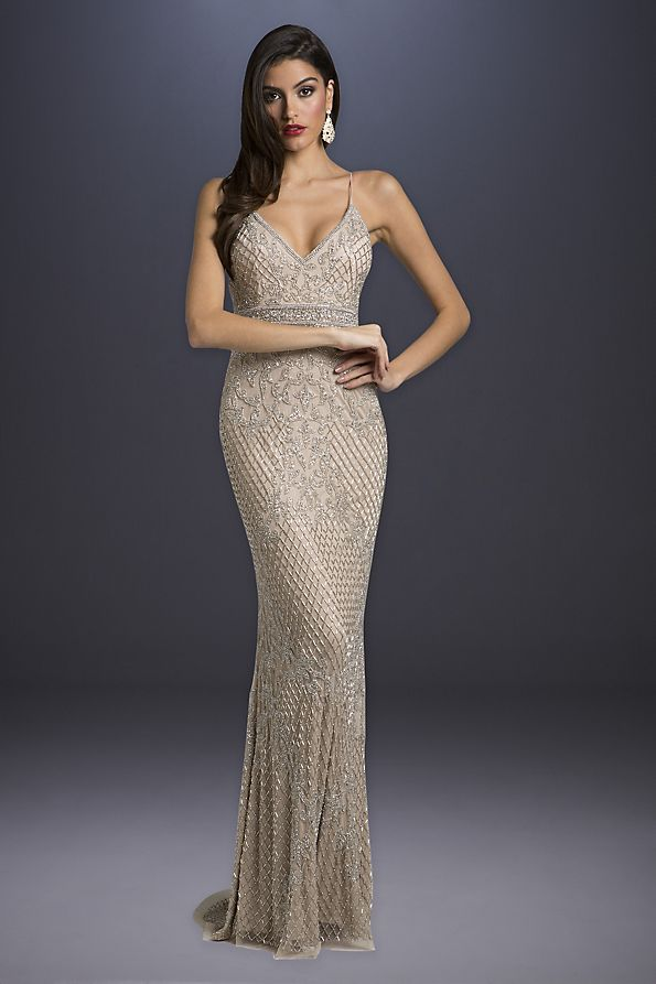 981e95d8bb Beaded Sheath Wedding Dress with Spaghetti Straps | David's Bridal
