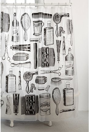 Apothecary design shower curtain for a black and white tiled bathroom : )