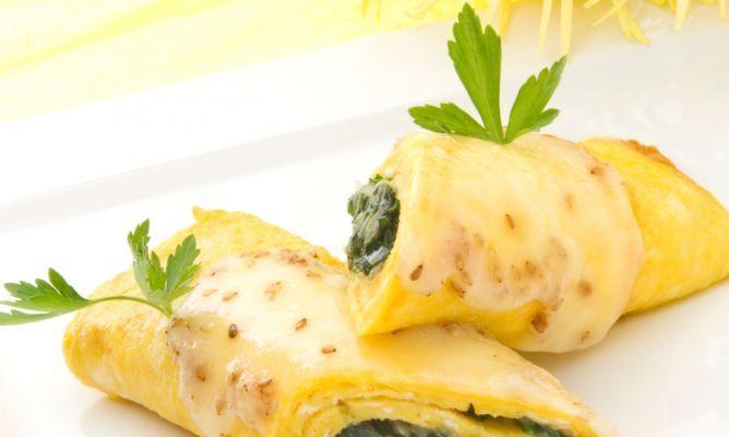 Receta de Rollitos de tortilla con espinacas y queso