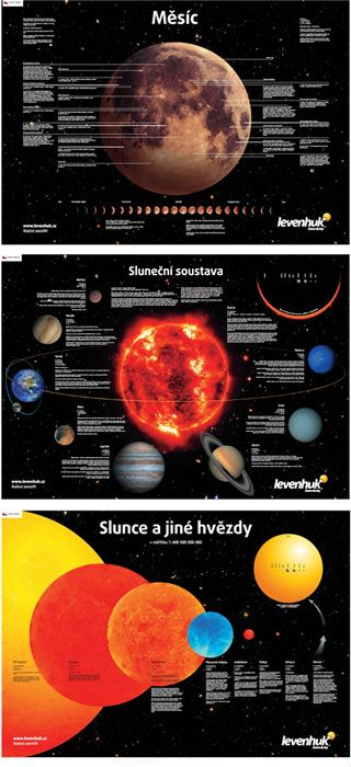 Sada plakátů Levenhuk s vesmírnou tématikou -  Tato sada se skládá ze tří plakátů: Měsíc, Sluneční soustava, Slunce a jiné hvězdy.  #levenhuk #astronomie #LevenhukČeskáRepublika #Slunce #Měsíc #koupitonline #koupit #PříslušenstvíLevenhuk