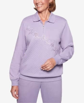 Alfred Dunner Petite At Ease Quilted Floral Embroidered