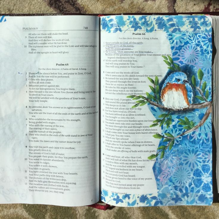 Psalm 66:1-3 Bird illustration in journaling Bible