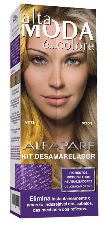 Coloração corretiva que elimina o amarelo indesejável dos cabelos, das mechas e dos reflexos.