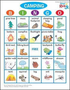 Camping Bingo - There's so much to see and observe when you're on a camping trip! Make a game out of it by filling in these bingo cards with camping-related words and objects. Or use our completed, ready-to-play bingo card.