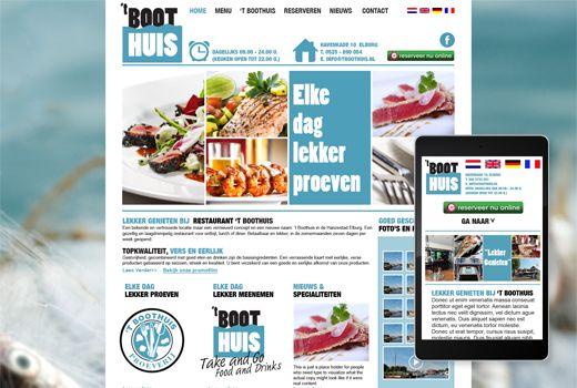 Website restaurant 't Boothuis  In samenwerking met Hans Bosma (Bosma Direct Marketing) hebben we voor een nieuw restaurant in Elburg een responsive website ontwikkeld. Gezellig, toegankelijk en gespecialiseerd in visgerechten zijn de eigenschappen die we prominent in het ontwerp hebben laten terugkomen. En met name bij B2C websites mag een mobiele versie natuurlijk niet ontbreken. Daarom is de website responsive ontwikkeld. En daarmee uitermate geschikt om op een smartphone te bekijken.
