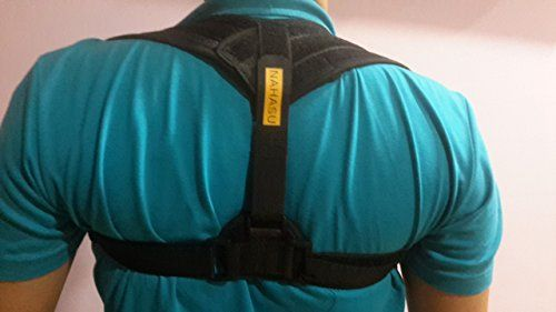"""Premium Unisex Posture Corrector Adjustable (24""""-48"""") by NAHASU Clavicle Support Brace - Orthopedist Designed Vest - Men and Women - Improve Bad Posture, Shoulder Alignment  RECOVER FASTER FROM INJURY OR SPINAL DAMAGE- The braces of this posture corrector brace are designed to limit certain body motions so you can feel relief and recover faster from injury. This posture corrector support helps in mobilizing the injury are so you can recover faster from your injury and enjoy better heal..."""