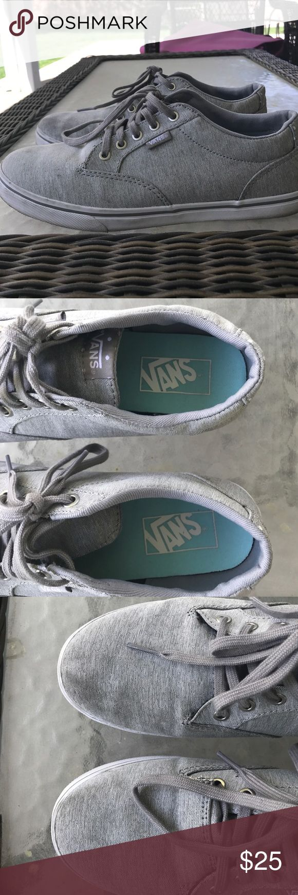 Gray Vans Size 7.5 Good used condition, normal wear on the bottom and sides, but only worn maybe two times so the sides are still pretty white. Top of the shoes have a slight discolouration as noted in the picture. Overall a good buy Vans Shoes Sneakers