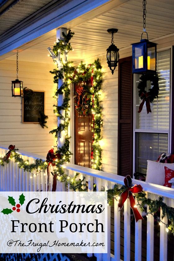 Christmas Front Porch with hanging candle lanterns - I can do this on my patio but will gave to use an alternative light source in the lanterns