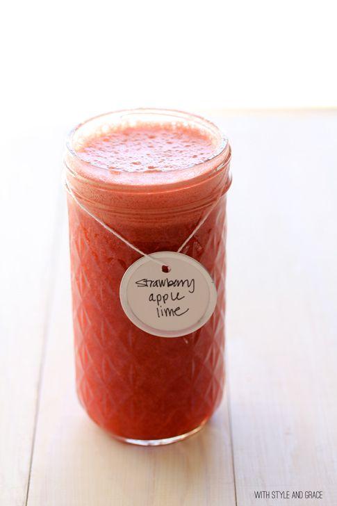 fresh strawberry-apple-lime juice